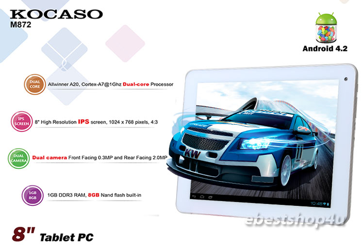 """KOCASO M872 Google Android 4.2 8"""" 1.0 GHz 8GB Dual Camera Tablet PC"""